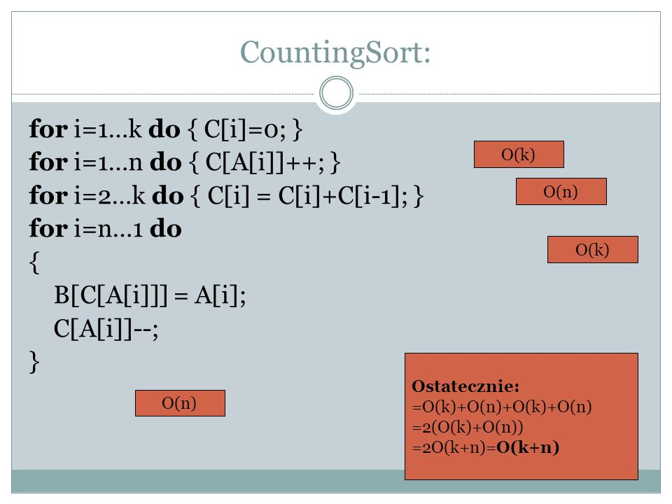 CountingSort: for i=1…k do { C[i]=0; } for i=1…n do { C[A[i]]++; }